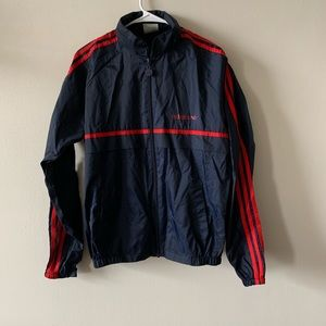Vintage adidas trefoil navy and red windbreaker